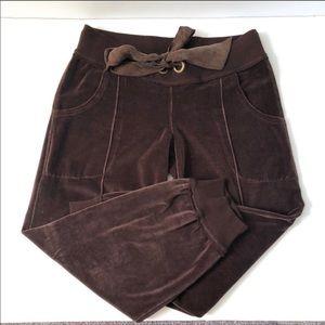 Joie • Brown Velour Silk Drawstring Jogger Pants